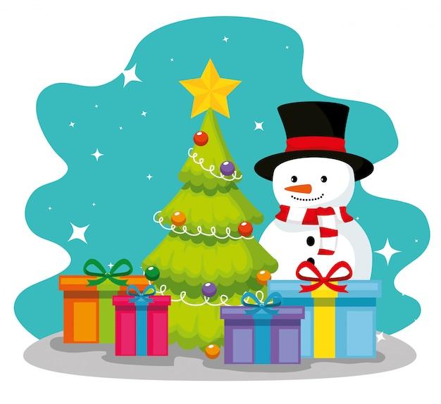 Pijnboom en sneeuwpop met geschenken presenteert