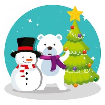 Pijnboom met sneeuwpop en sneeuw beer