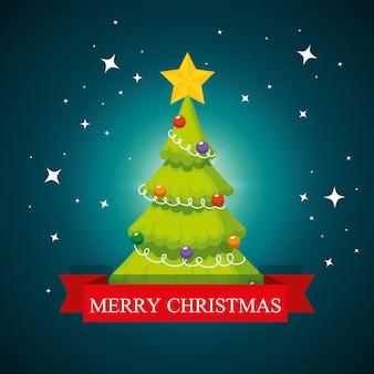 Pijnboomboom met ster en ballen om kerstmis te vieren