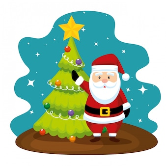 Pijnboomboom met ster en de kerstman