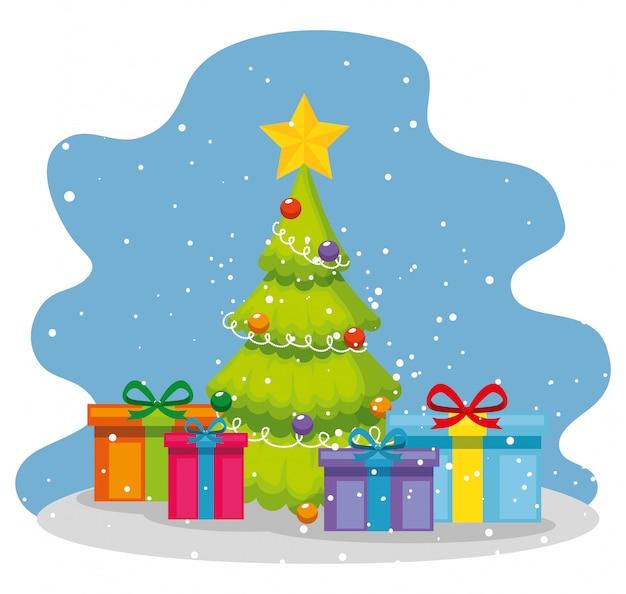 Pijnboomboom met ster en kerstmisgiften