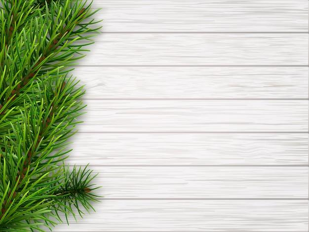 Pijnboomtak op oude witte houten achtergrond