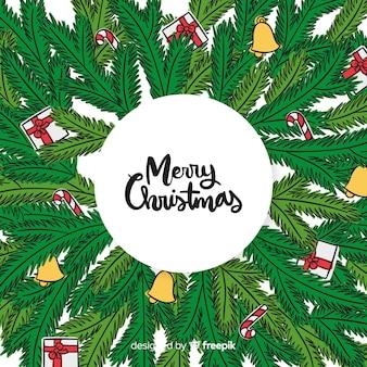 Pijnboomtakken kerstmis achtergrond