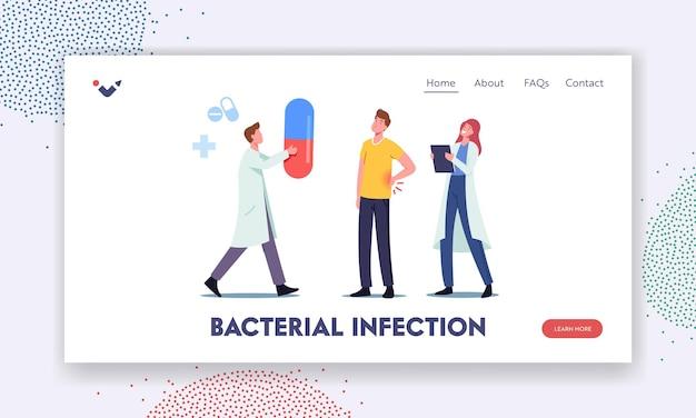 Pijnlijke nieren bacteriële infectie pyelonefritis symptomen landingspaginasjabloon. mannelijke patiënt karakter bezoekende nefroloog arts met urologie systeemziekte. cartoon mensen vectorillustratie