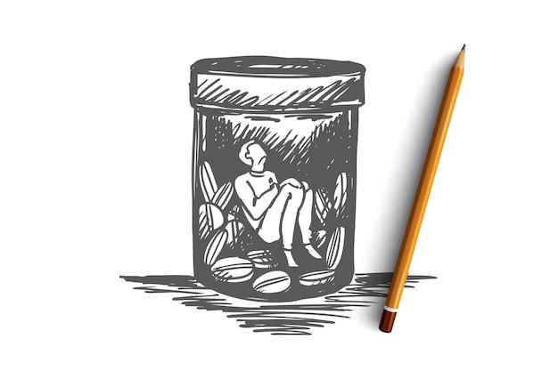 Pijnstiller, verslaving, drugs, ziekteconcept. hand getekende man zit binnenkant buttle met drugs of pillen concept schets.