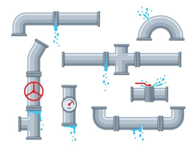 Pijp met lekkend water. gebroken leidingen met lekkage, plastic leidingbreuk. druipende afvoerkraan, problemen met de watervoorziening met gebroken leidingen