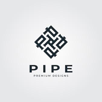 Pijp vierkante logo brief minimalistische loodgieter industrie