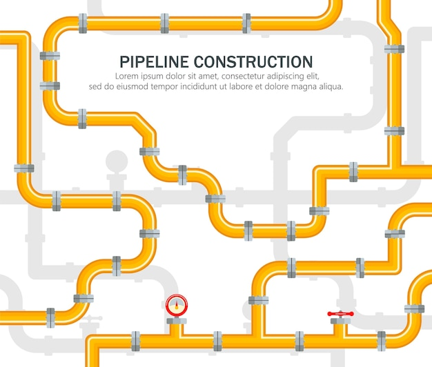 Pijpleiding industrieel op gele achtergrond