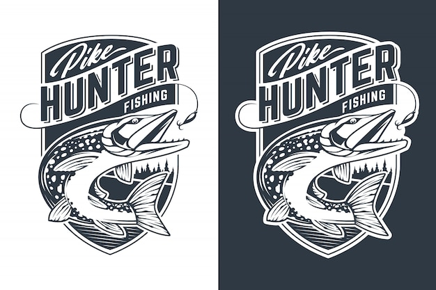 Pike hunter vector embleemontwerp. retro-stijl badge met snoekvissen in beweging om aas te vangen.