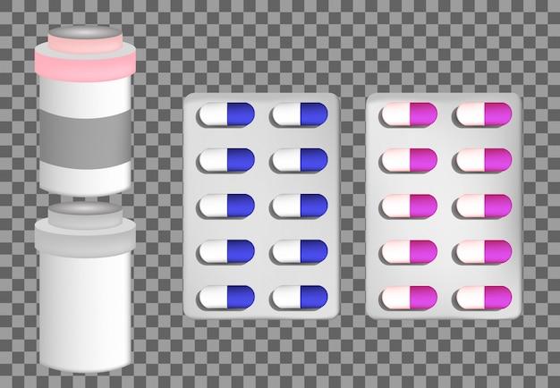 Pil blister glazen fles met vloeibaar medicijn en plastic dop