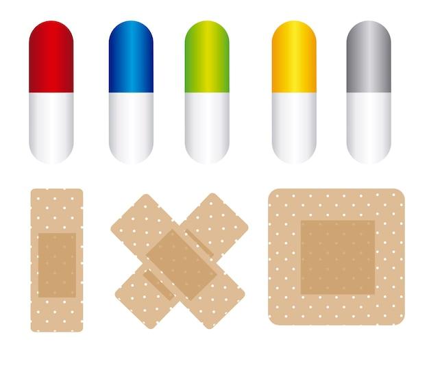 Pillen en genezen band geïsoleerd over witte bakcground vector