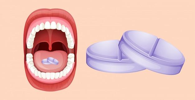 Pillen en menselijke mond