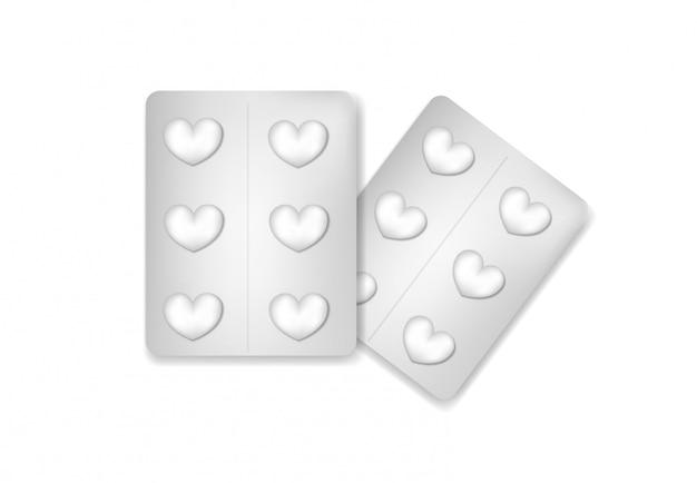 Pillen in een blisterverpakking in de vorm van een hart.