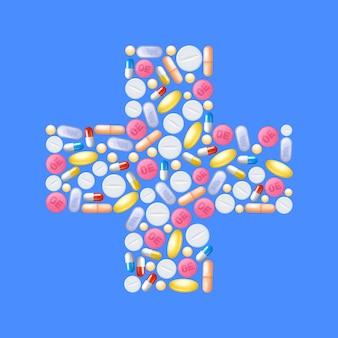 Pillen in kruisvorm