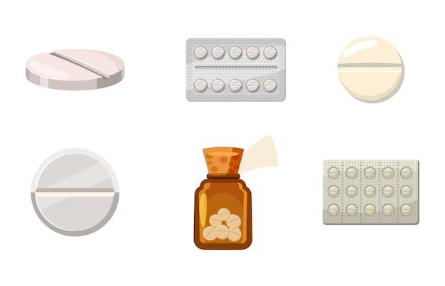 Pillen ingesteld. cartoon set pillen