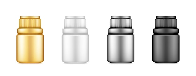 Pillen of supplement fles plastic pakket illustratie
