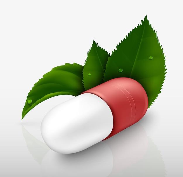 Pillencapsule met groene bladeren op een witte achtergrond