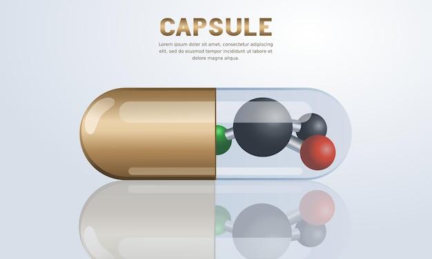 Pillencapsule met het conceptmolecuul van de gezondheidszorgtechnologie