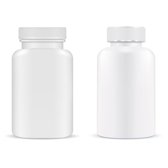 Pillenfles. plastic supplement container vitamine capsule pot geïsoleerd. product sjabloon voor medische tablet. verpakkingsontwerp voor receptgeneesmiddelen. pillendoosje, antibioticakuur. medicijnpakket