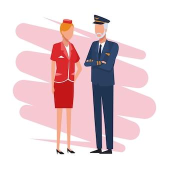 Piloot en stewardess baan en arbeiders