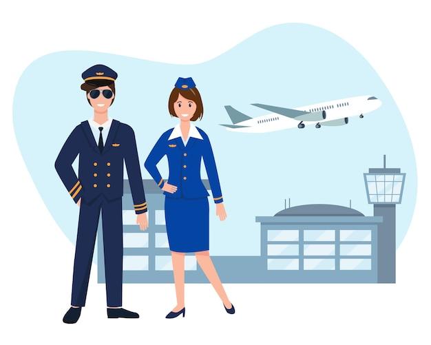 Piloot en stewardess dichtbij luchthaven met vliegend vliegtuig.
