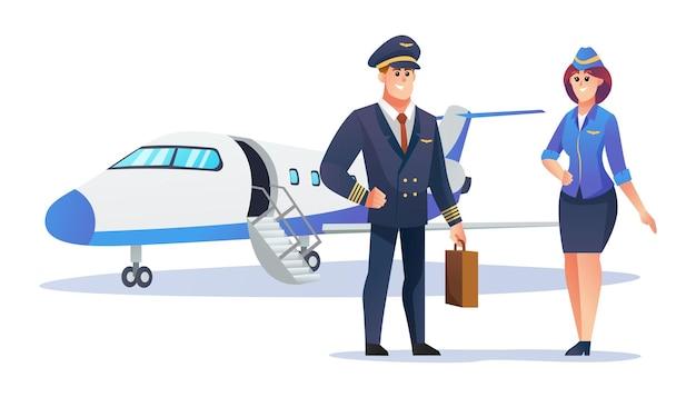 Piloot en stewardess karakters met vliegtuig