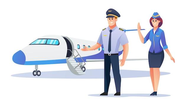 Piloot en stewardess met vliegtuig cartoon afbeelding