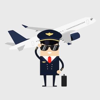 Piloot in uniform staand voor het vliegtuig.