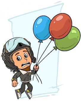 Piloot jongen stripfiguur met lucht ballonnen