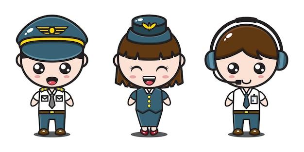 Piloot, stewardess en operator karakter van het vliegtuig
