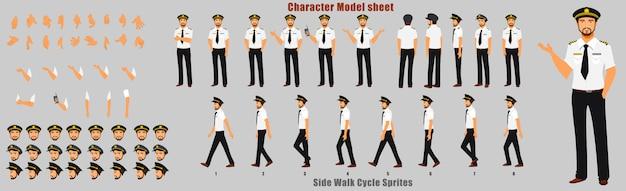 Pilootkarakter modelblad met loopcyclus animatie volgorde