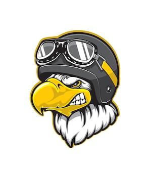Pilot eagle vogel mascotte met cartoon hoofd van bald eagle