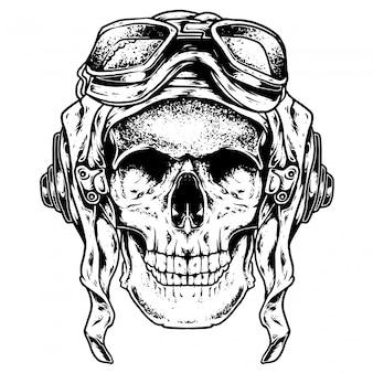Pilot schedel gravure illustratie