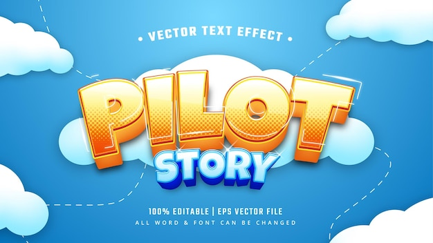 Pilot story battle ship game 3d bewerkbaar tekststijleffect.