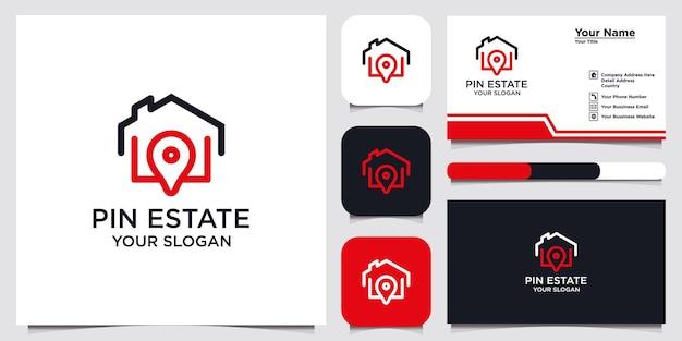Pin estate logo ontwerpsjabloon en visitekaartje