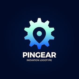 Pin gear logo navigator eenvoudig pictogram symbool.