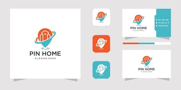 Pin home logo-ontwerp en visitekaartje.