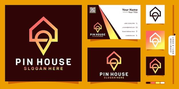 Pin huis logo modern concept en visitekaartje ontwerp premium vector