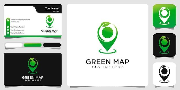 Pin kaart blad met visitekaartje logo ontwerp sjabloon vector