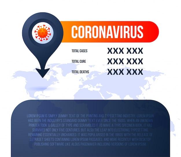Pin locatie covid-19 kaart bevestigde gevallen, genezing, sterfgevallen wereldwijd rapporteren. coronavirusziekte 2019 situatie-update wereldwijd. kaarten en nieuwskoppen tonen de situatie en de achtergrond van de statistieken