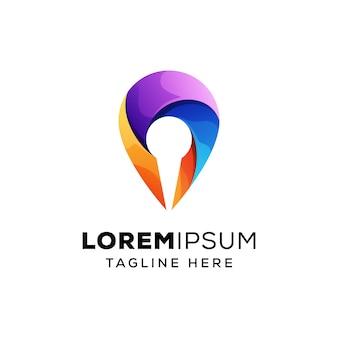 Pin locatie logo concept premium vector