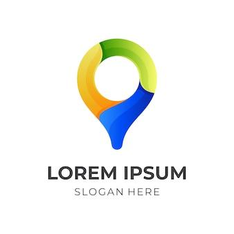 Pin locatie logo-ontwerp met 3d-kleurrijke stijl