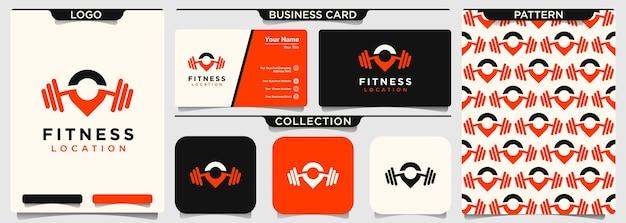 Pin-locatie met barbell-logo-ontwerp voor sportschool en fitness