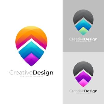 Pin-logo met pijlontwerpsjabloon, locatielogo's