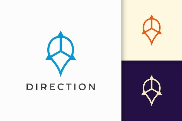Pin-logo of markering in eenvoudige lijn en moderne vorm vertegenwoordigen kaart of positie