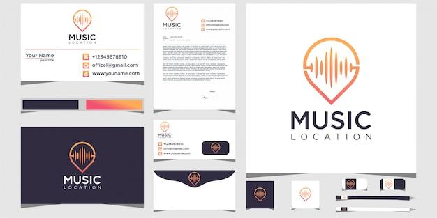 Pin muziek locatie logo ontwerp briefpapier
