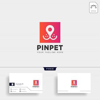 Pin of locatie huisdier dierlijk logo sjabloon vector pictogram