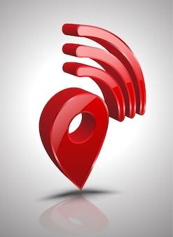 Pin wifi-pictogram 3d-stijl.