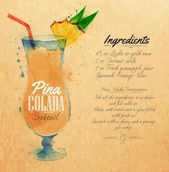 Pina colada cocktails aquarel kraft