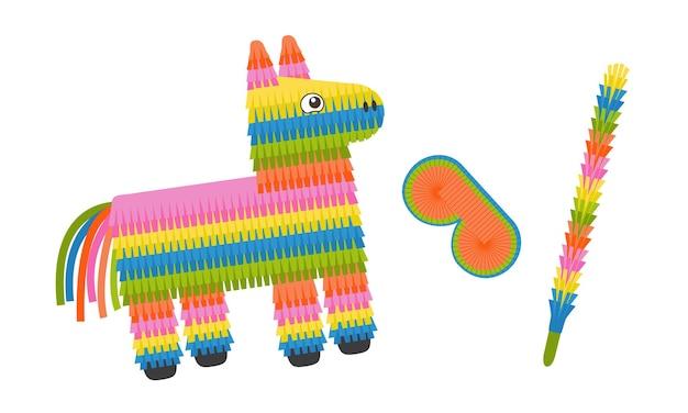 Pinata-ezel met oogmasker en stok kleurrijk pinata-speelgoed met snoep en snoep voor verjaardagsfeestje